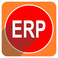 erp red flat icon isolated