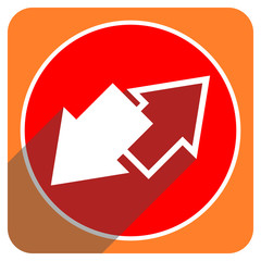 exchange red flat icon isolated
