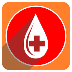 blood red flat icon isolated