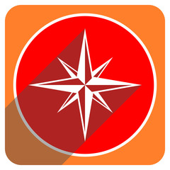 compass red flat icon isolated