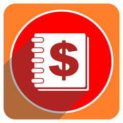 money red flat icon isolated
