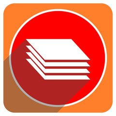 layers red flat icon isolated