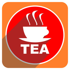 tea red flat icon isolated