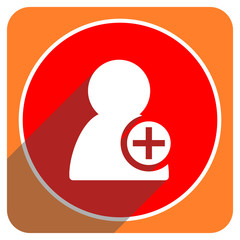 add contact red flat icon isolated