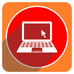 computer red flat icon isolated