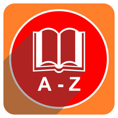 dictionary red flat icon isolated