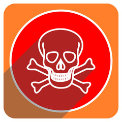 skull red flat icon isolated