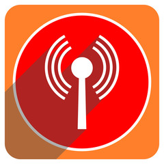 wifi red flat icon isolated