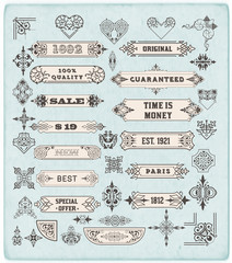 Set of calligraphic design elements: Labels, banners, baroque fr
