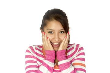 Hispanic girl surprised