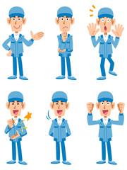 作業員 宅配 6種類のポーズと表情