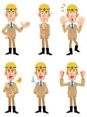 工事現場 作業員 6種類のポーズと表情
