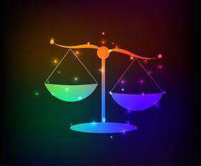 Justice scale symbol,rainbow vector