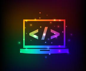 Computer coding symbol,rainbow vector