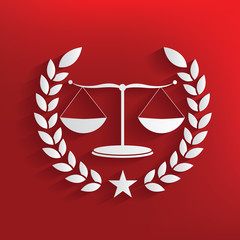 justice scale badge symbol on red background,clean vector