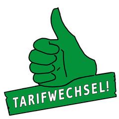 tus207 ThumbUpSign tus-v34 - Daumen tarifwechsel - grün g2307