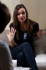 Woman with problems on psychotherapy