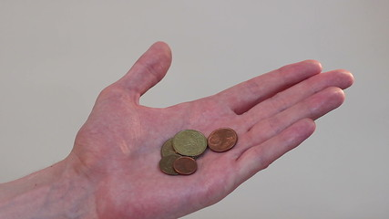 Hand holding a few coins, poverty, little income, family budget