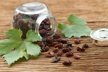 dry raisins  in the bottle