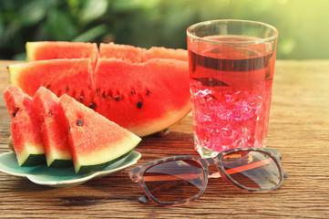 Watermelon Juice and Slices,vintage