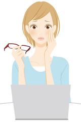 PC操作 目の疲れを訴える女性