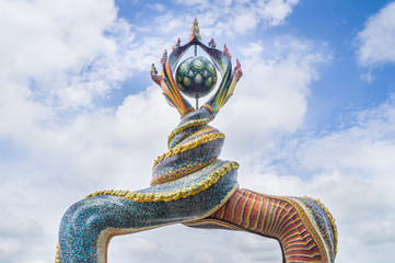 Naga's tails sculpture was decorated with glazed tile