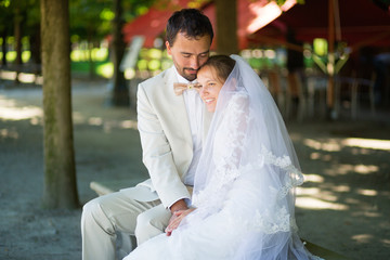 Married couple in the Tuileries garden