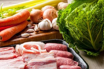 Ingredienti crudi per il bottaggio o casoeûla