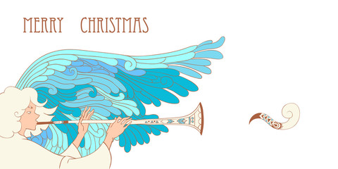 horizontal christmas illustration with angel