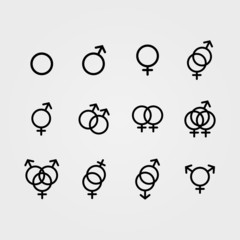 Vector Male and Female sexual orientation icons
