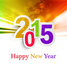 Abstract Background  Happy New Year 2015 celebration colorful ve