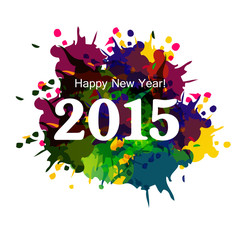 Happy New Year 2015 colorful grunge celebration beautiful card v