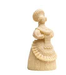 Lady with loaf made of delicious white chocolate