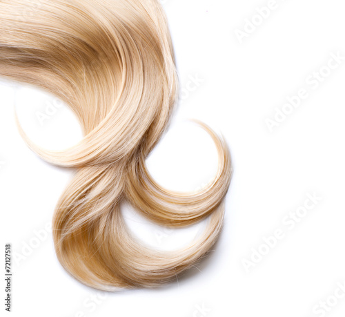 Blond hair isolated on white. Blonde lock closeup