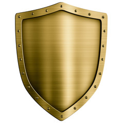 Gold or bronze metal medieval shield isolated on white