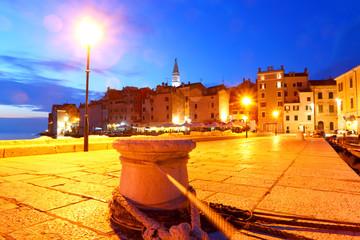 Rovinj with night-time lighting, Croatia