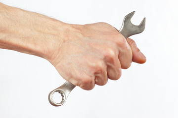 Hand of serviceman with a wrench on a white background