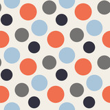 Fototapety Vector Pattern with polka red,blue,grey dots