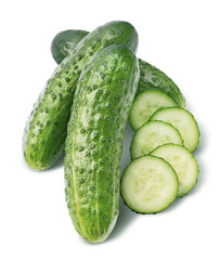 Cucumber group and round pieces isolated on white