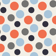 Vector Pattern with polka red,blue,grey dots