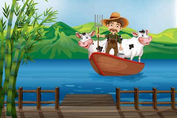 Farmer and boat
