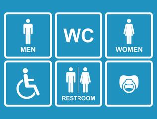 Vector restroom icons,men,women, lady, man, baby dummy