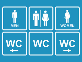 Male and female WC icon denoting toilet , restroom simbol