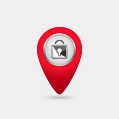Vector location red icon with lock sign