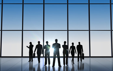 The business team silhouettes
