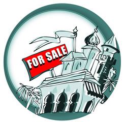 palace for sale on cartoon style
