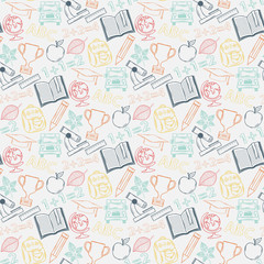 Neon Seamless pattern Back to school