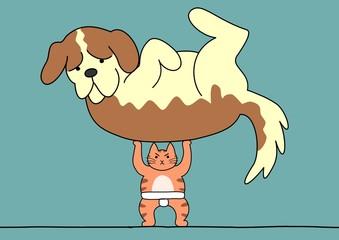相撲 猫が犬を持ち上げる