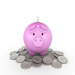 Piggy bank and silver coin