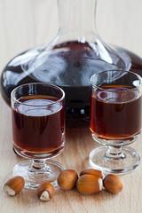 Hazelnut liqueur in a carafe